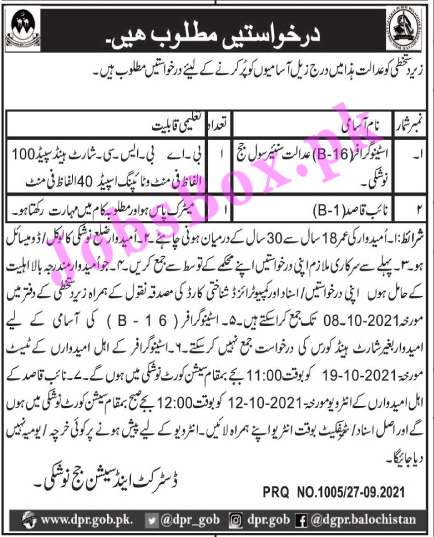 District and Session Courts Nushki Jobs 2021