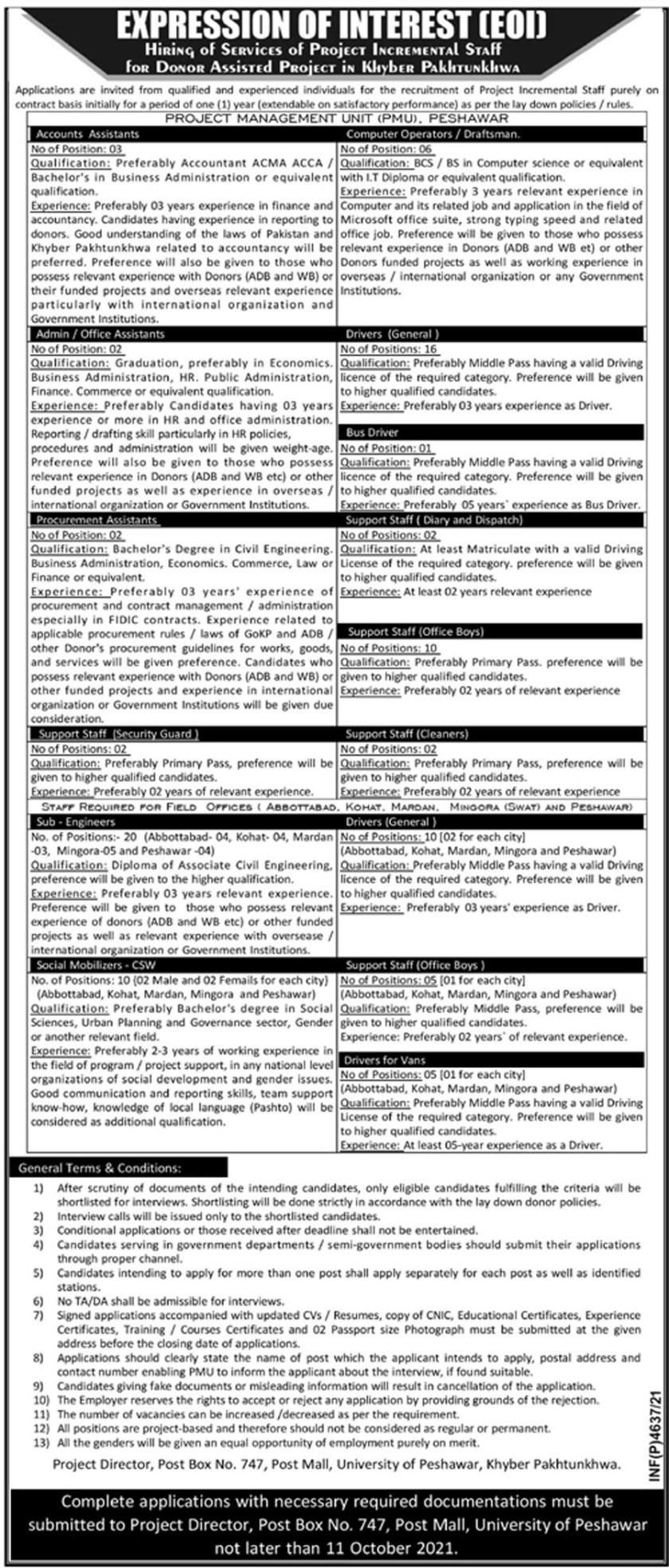 Donor Assisted Project KPK Jobs 2021 - Project Management Unit PMU Jobs