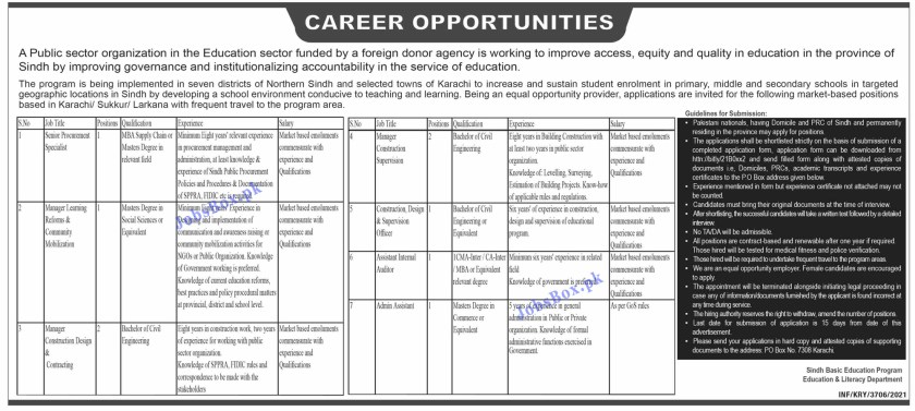 Education and Literacy Department Sindh Jobs 2021