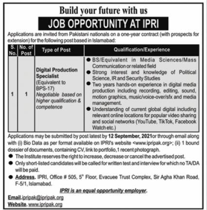 Islamabad Policy Research Institute IPRI Jobs 2021
