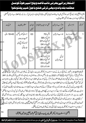 Local Government KPK Jobs in Bajaur for Naib Qasid