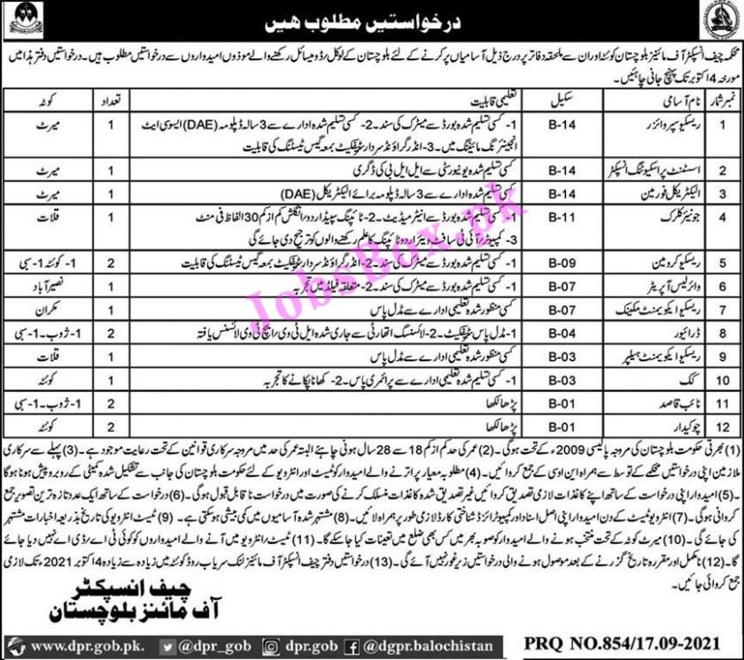 Mines and Minerals Department Balochistan Jobs 2021