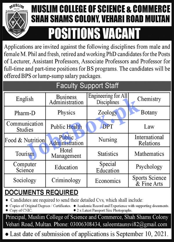 Muslim College of Science & Commerce Jobs 2021