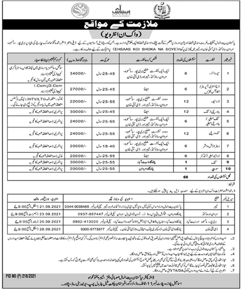 Pakistan Bait ul Mal Jobs 202 - PBM Jobs in Khyber Pakhtunkhwa