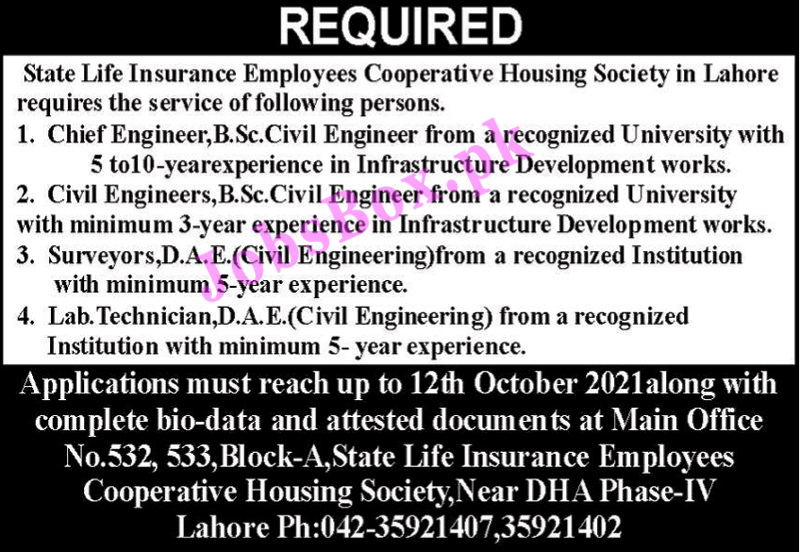 State Life Insurance Employees Cooperative Housing Society Jobs 2021
