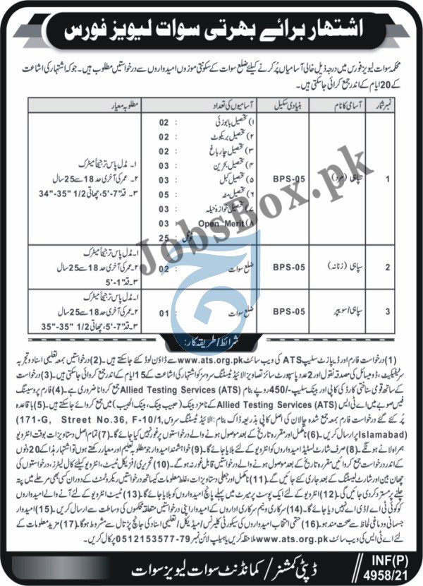 Swat Levies Force Jobs 2021 For Sipahi - Application Form via ATS