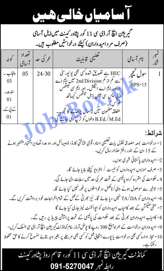 Civil Teachers Jobs in Garrison HRDC Peshawar Cantt