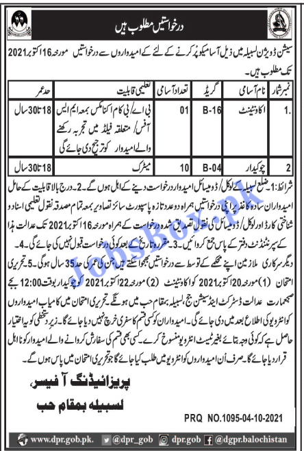 District and Session Courts Lasbela Jobs 2021
