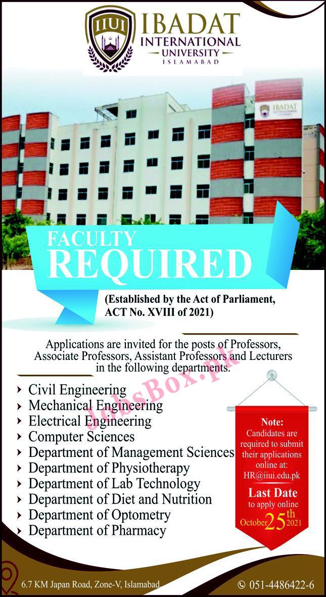 Ibadat International University Islamabad Jobs 2021