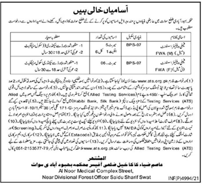 Population Welfare Department Swat Jobs 2021