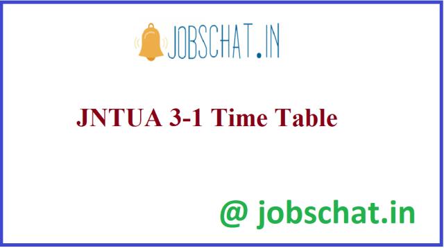 जेएनटीयूए 3-1 टाइम टेबल