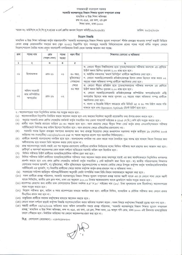 Directorate of Secondary and Higher Education Job Circular 2019