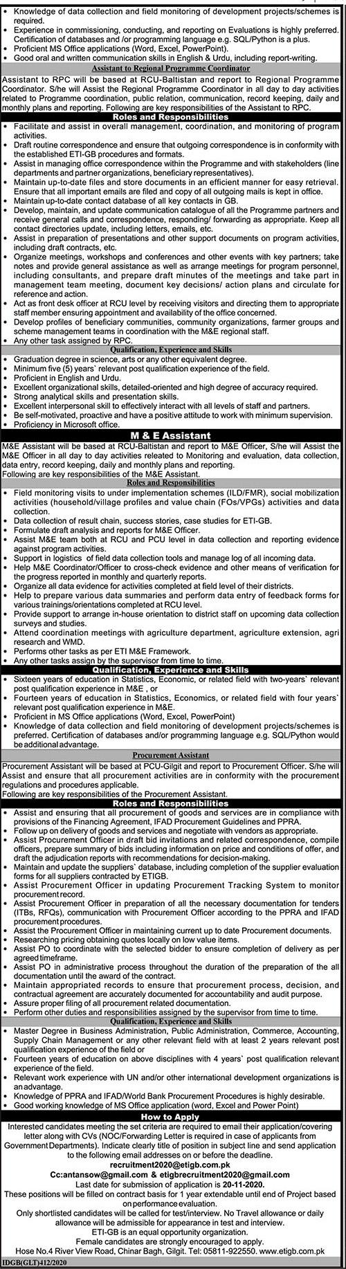 Planning & Development Department Gilgit Baltistan Jobs 2020 for Economic Transformation Initiative ETIGB