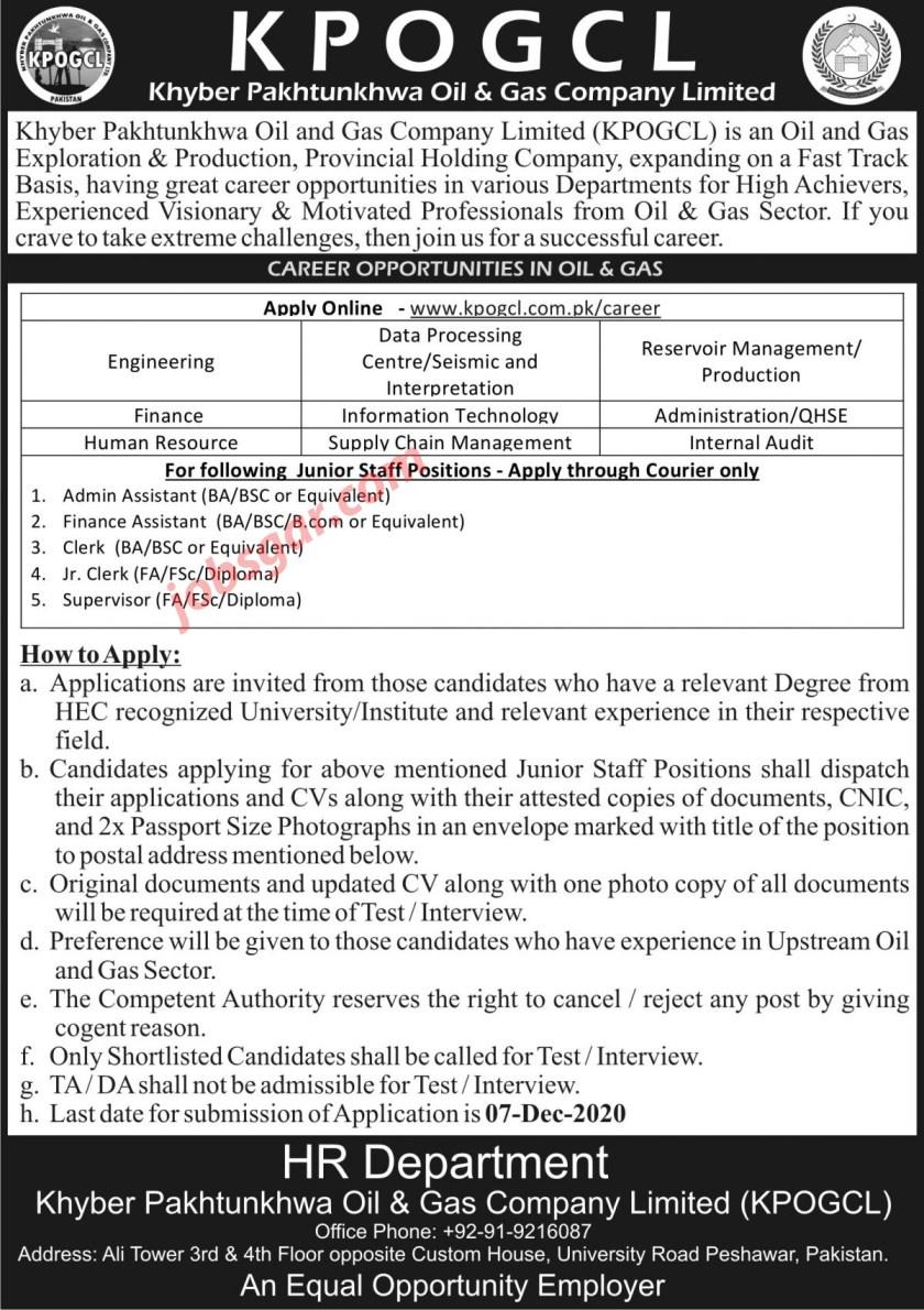 Khyber Pakhtunkhwa Oil & Gas Company KPOGCL Jobs 2020
