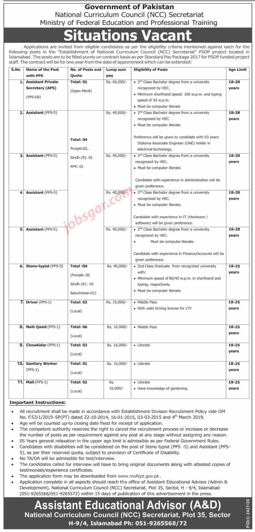 National Curriculum Council NCC Secretariat Islamabad Jobs 2020