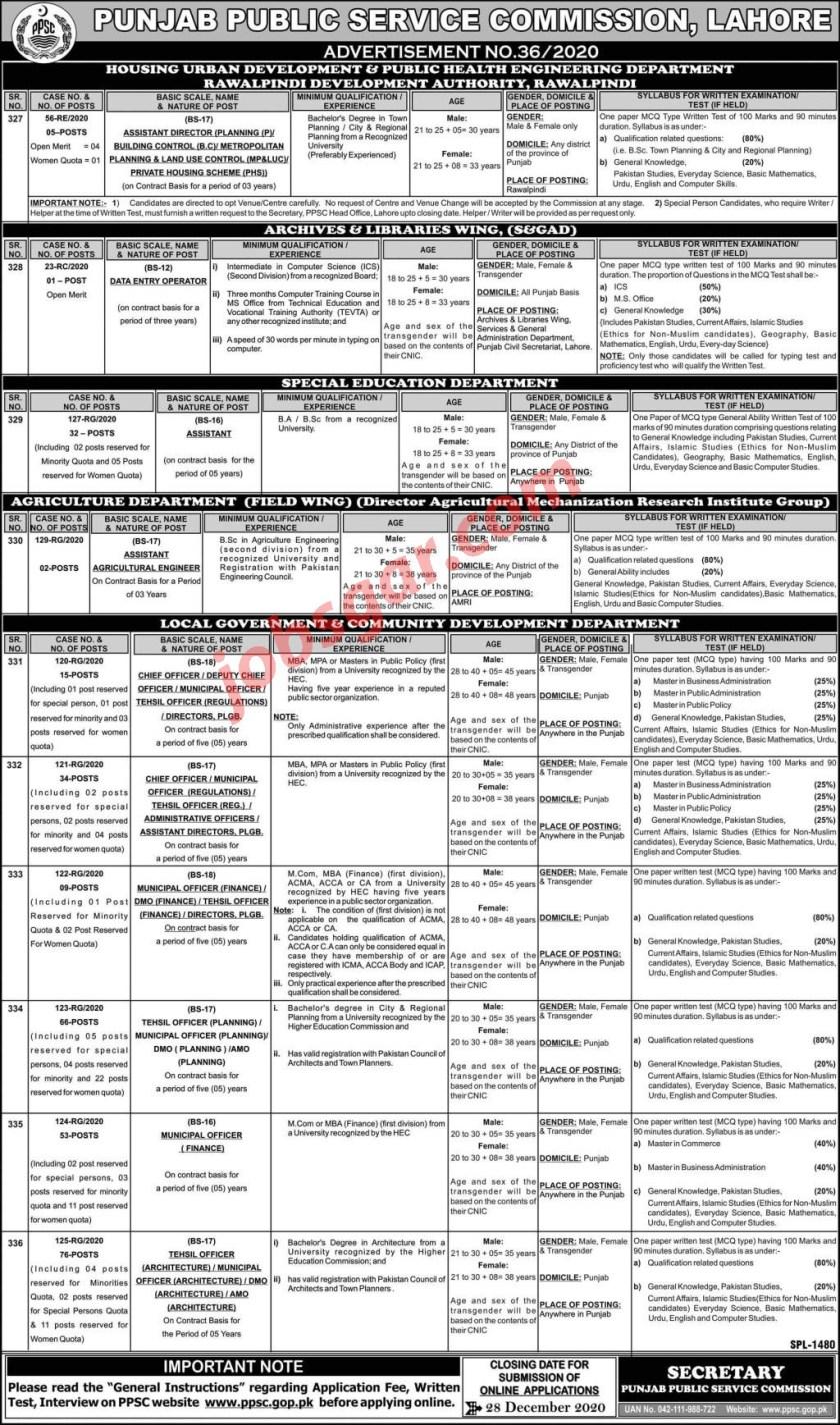 PPSC Jobs December 2020 Punjab Public Service Commission