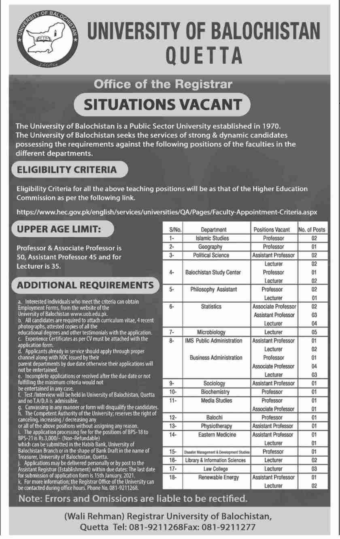 University of Balochistan Quetta Jobs 2020 for Teaching Faculty