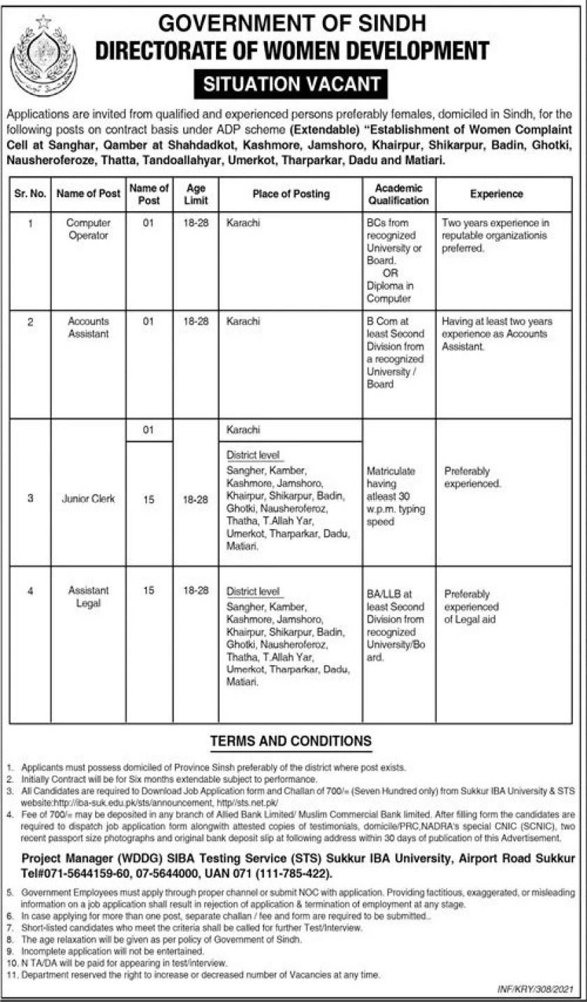 Women Development Department Sindh Jobs 2021