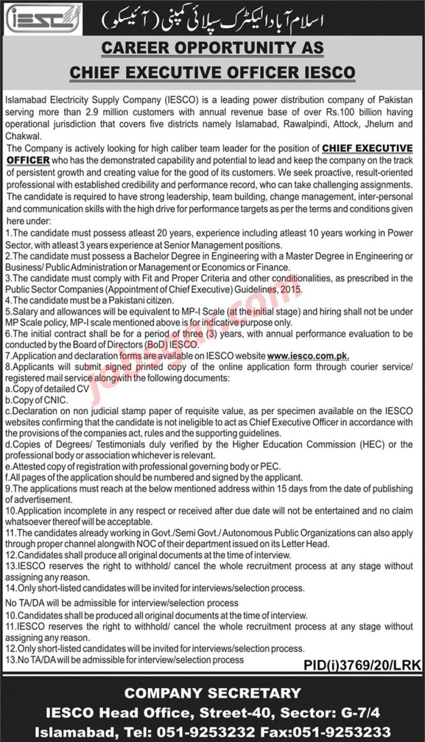 Islamabad Electric Supply Company IESCO Jobs 2021