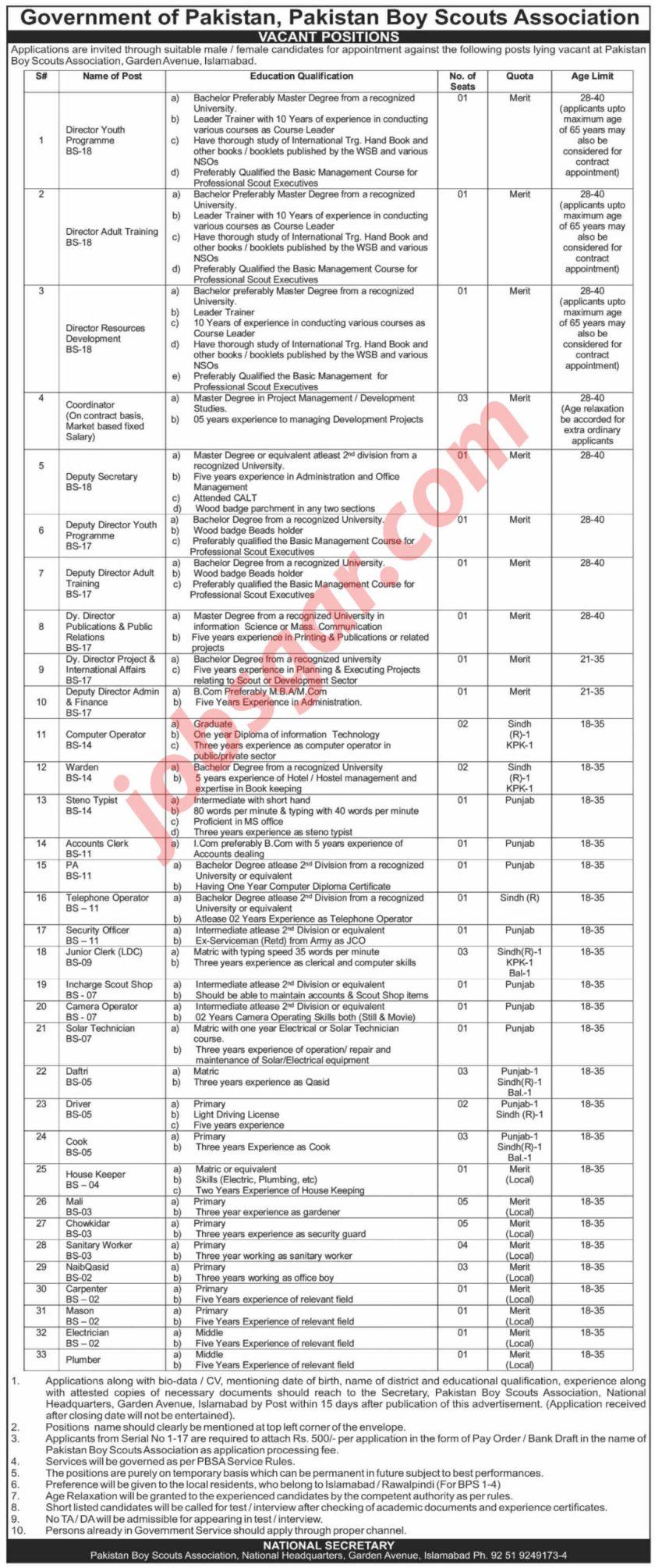 Pakistan Boy Scouts Association Jobs 2021 in Islamabad