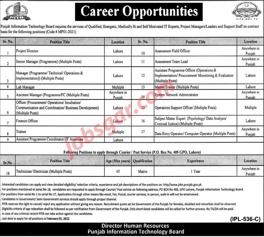 Punjab Information Technology Board PITB Jobs 2021