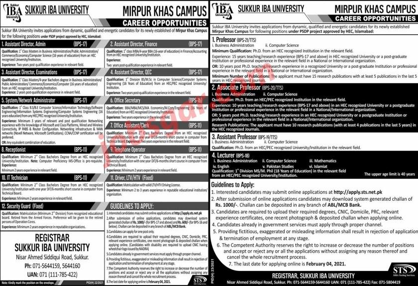 Sukkur IBA University Jobs 2021 Mirpur Khas Campus