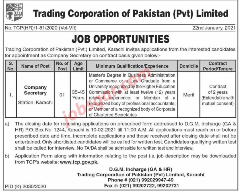 Trading Corporation of Pakistan TCP Jobs 2021