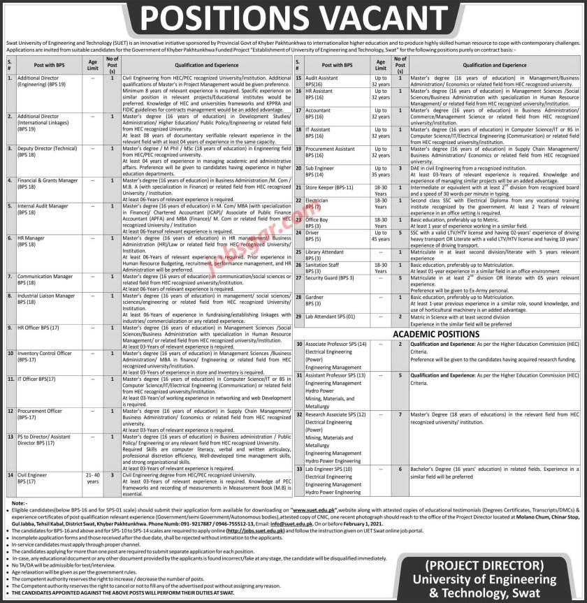 SUET Swat Jobs 2021 University of Engineering and Technology