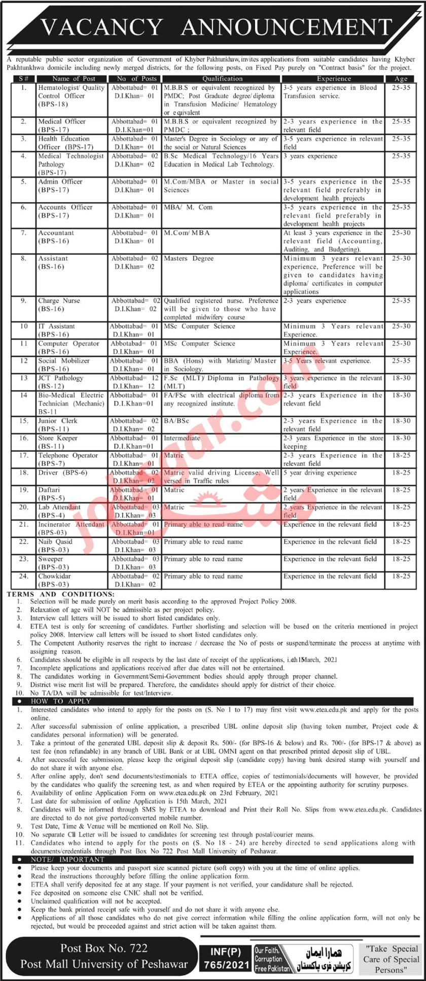 Public Sector Organization PO Box 722 Peshawar Jobs 2021