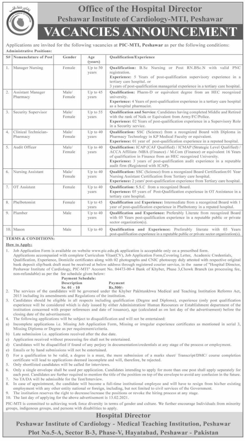 Peshawar Institute of Cardiology PIC MTI Jobs 2021