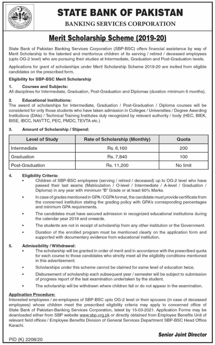 SBP Merit Scholarship Scheme 2019 20 State Bank of Pakistan
