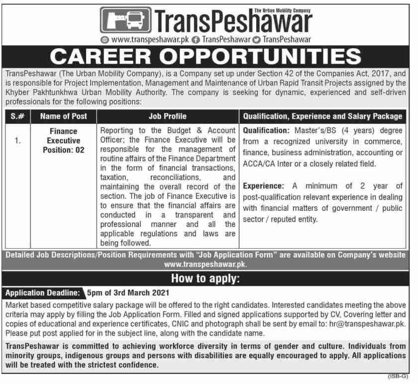 TransPeshawar Jobs 2021 The Urban Mobility Company