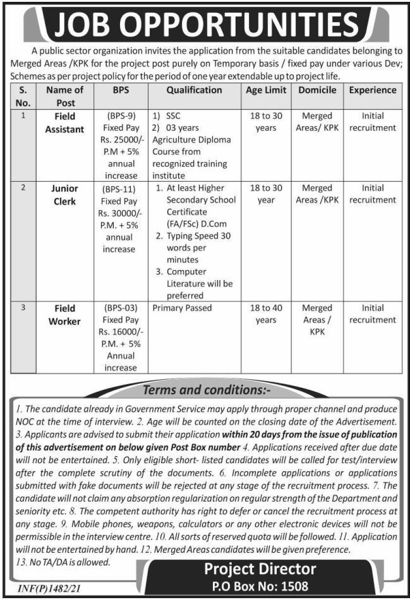 Public Sector Organization PO Box 1508 Management Posts Peshawar 2021