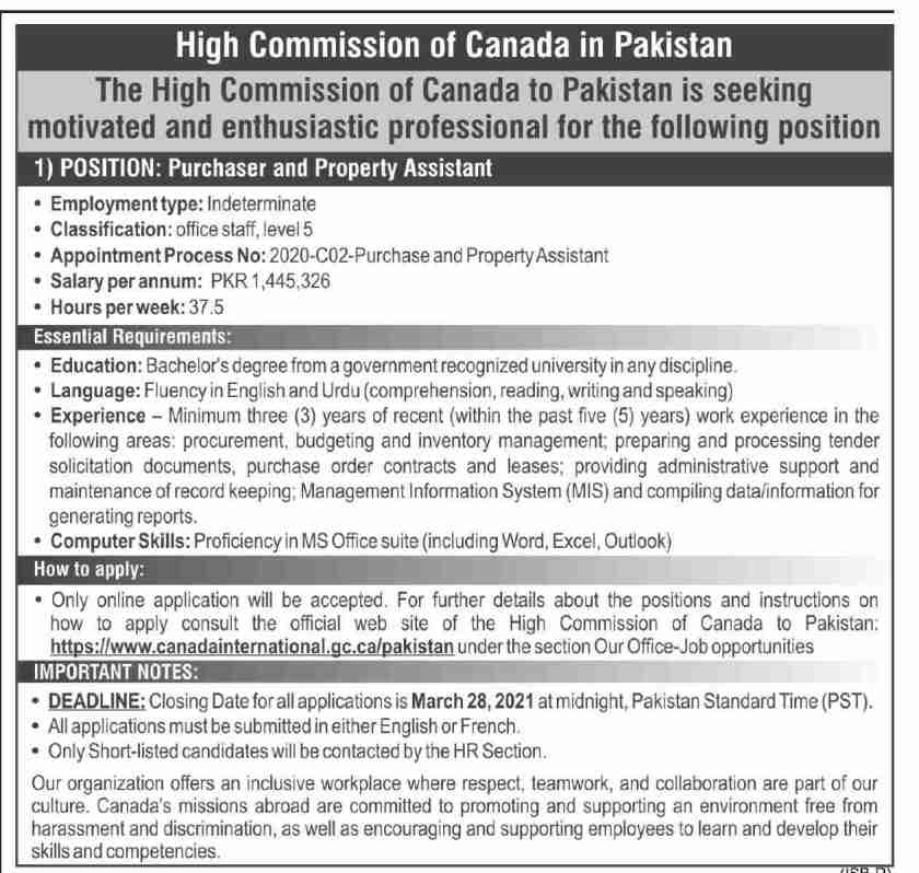 High Commission of Canada Jobs 2021 in Pakistan