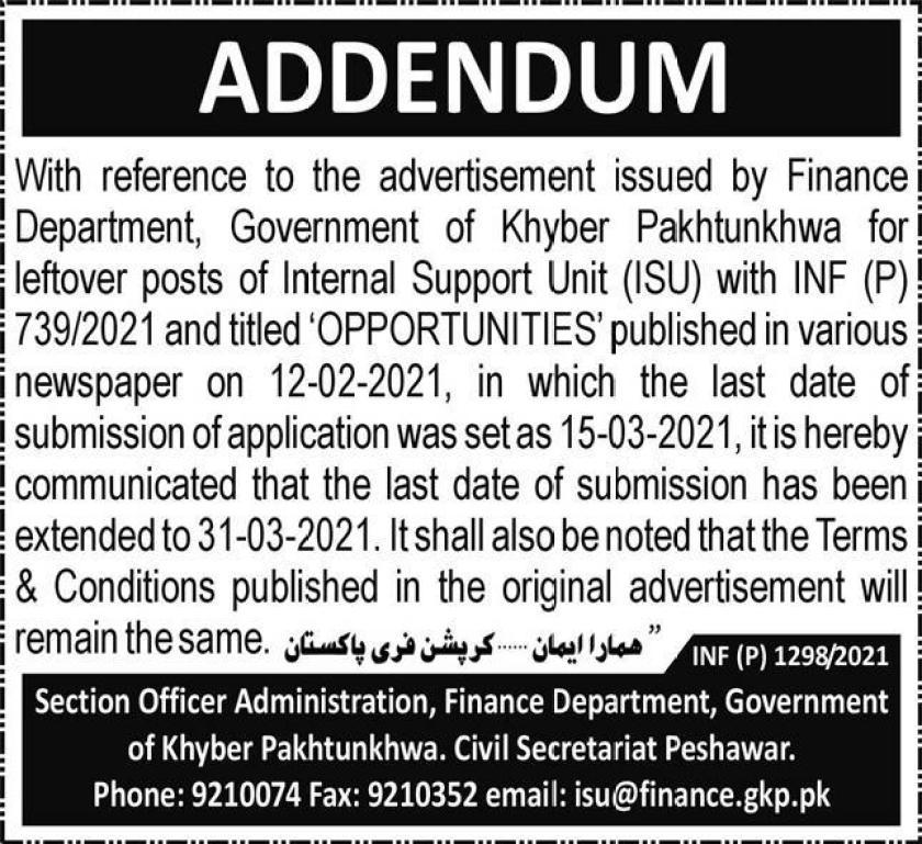 Internal Support Unit ISU Finance Department KPK Jobs 2021