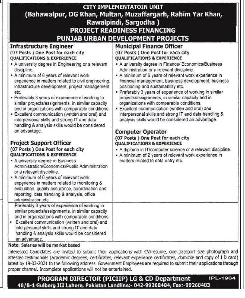 Punjab Intermediate Cities Improvement Investment Program PICIP Lahore Jobs 2021