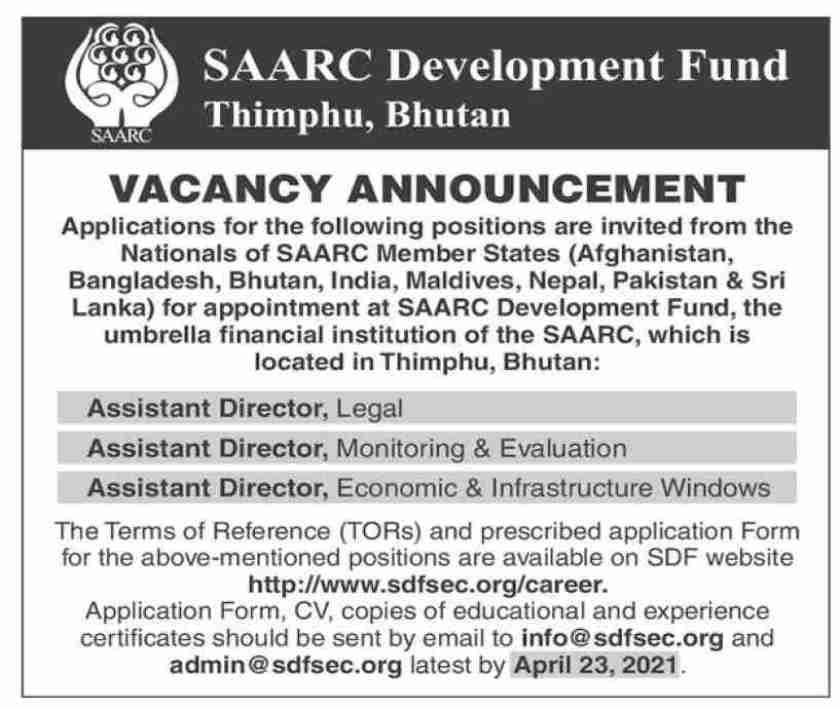 SAARC Development Fund SDF Jobs 2021 in Bhutan