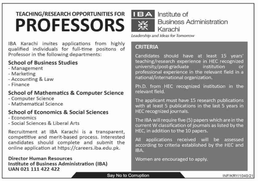 Institute of Business Administration IBA Karachi Jobs 2021