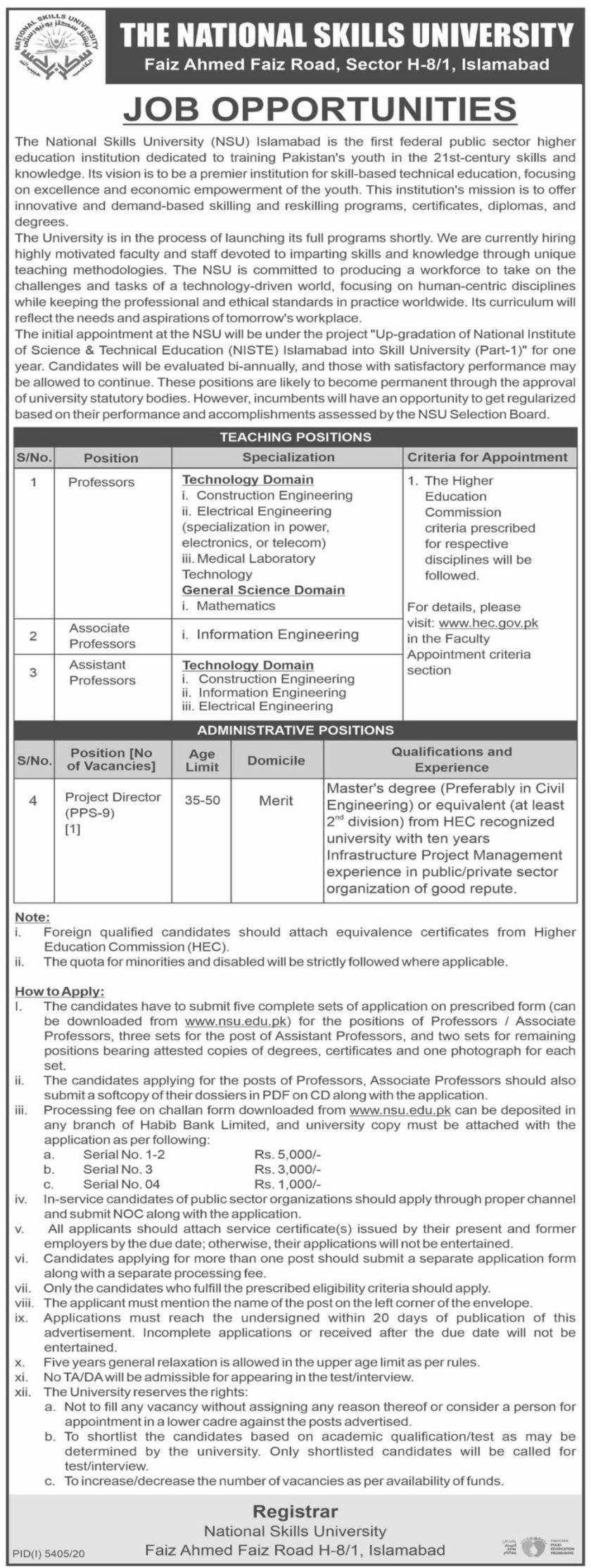 National Skills University NSU Islamabad Jobs 2021