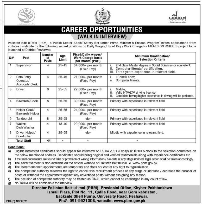 Pakistan Bait ul Mal PBM Jobs 2021