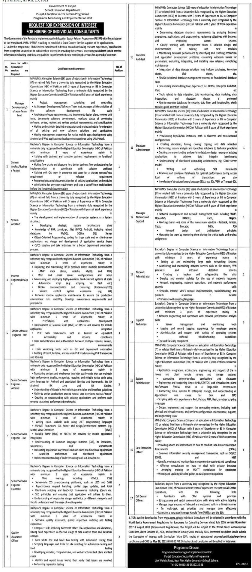 Punjab Education Sector Reform Programme PESRP Jobs 2021