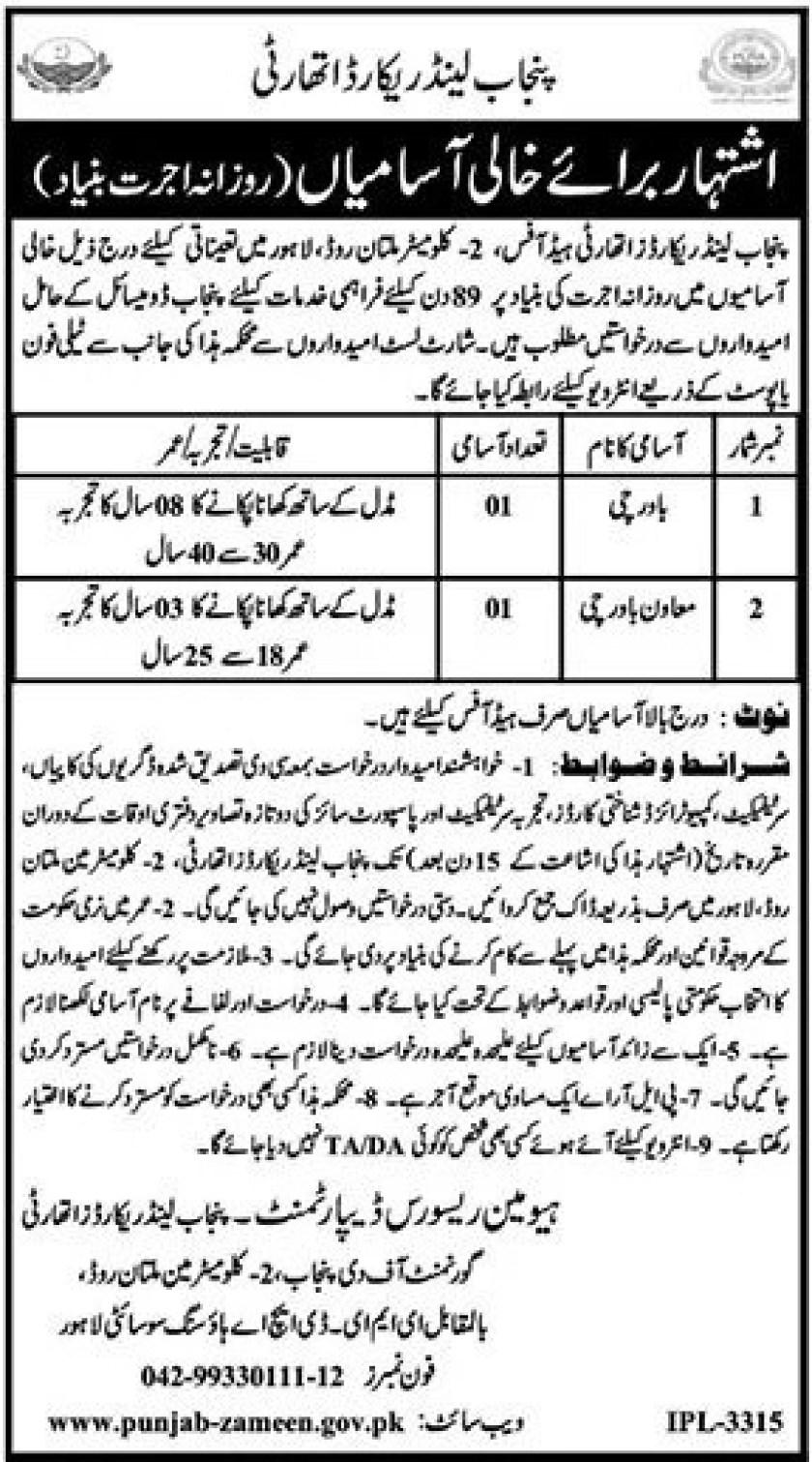 Punjab Land Records Authority PLRA Jobs 2021