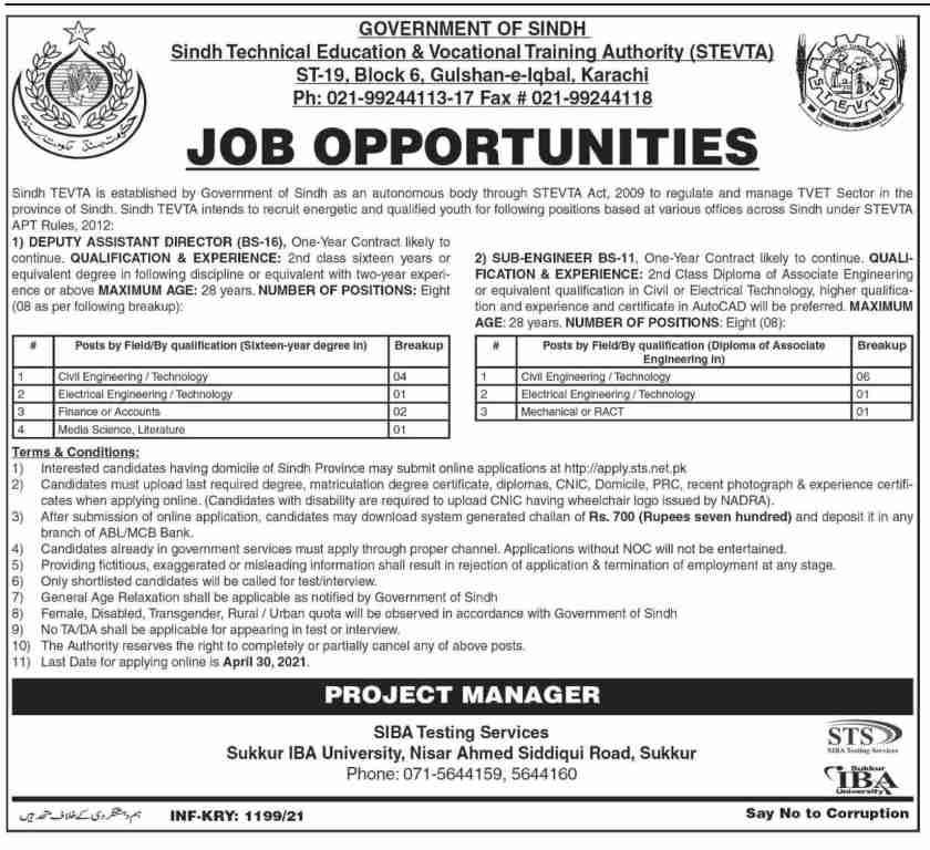 Sindh Technical Education & Vocational Training Authority STEVTA Jobs 2021