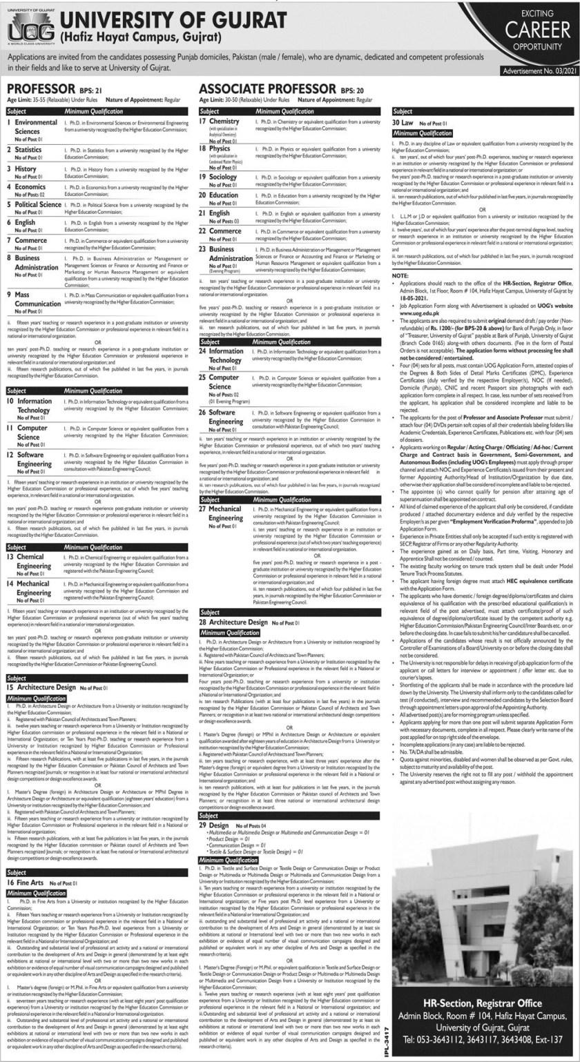 University of Gujrat UOG Gujrat Jobs 2021