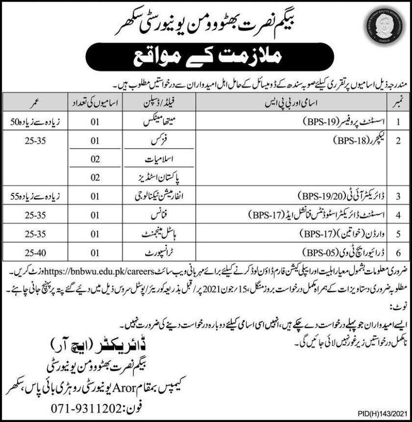 Begum Nusrat Bhutto Women University Sukkur BNBWU Jobs 2021