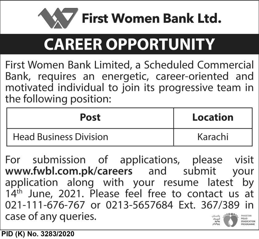 First Women Bank Limited FWBL Jobs 2021