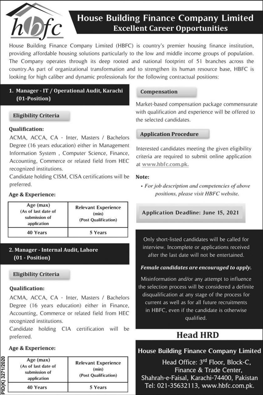 House Building Finance Company Limited HBFC Jobs 2021