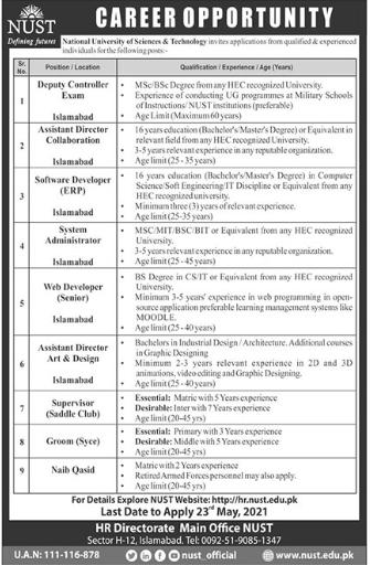 National University of Sciences & Technology Islamabad NUST Jobs 2021