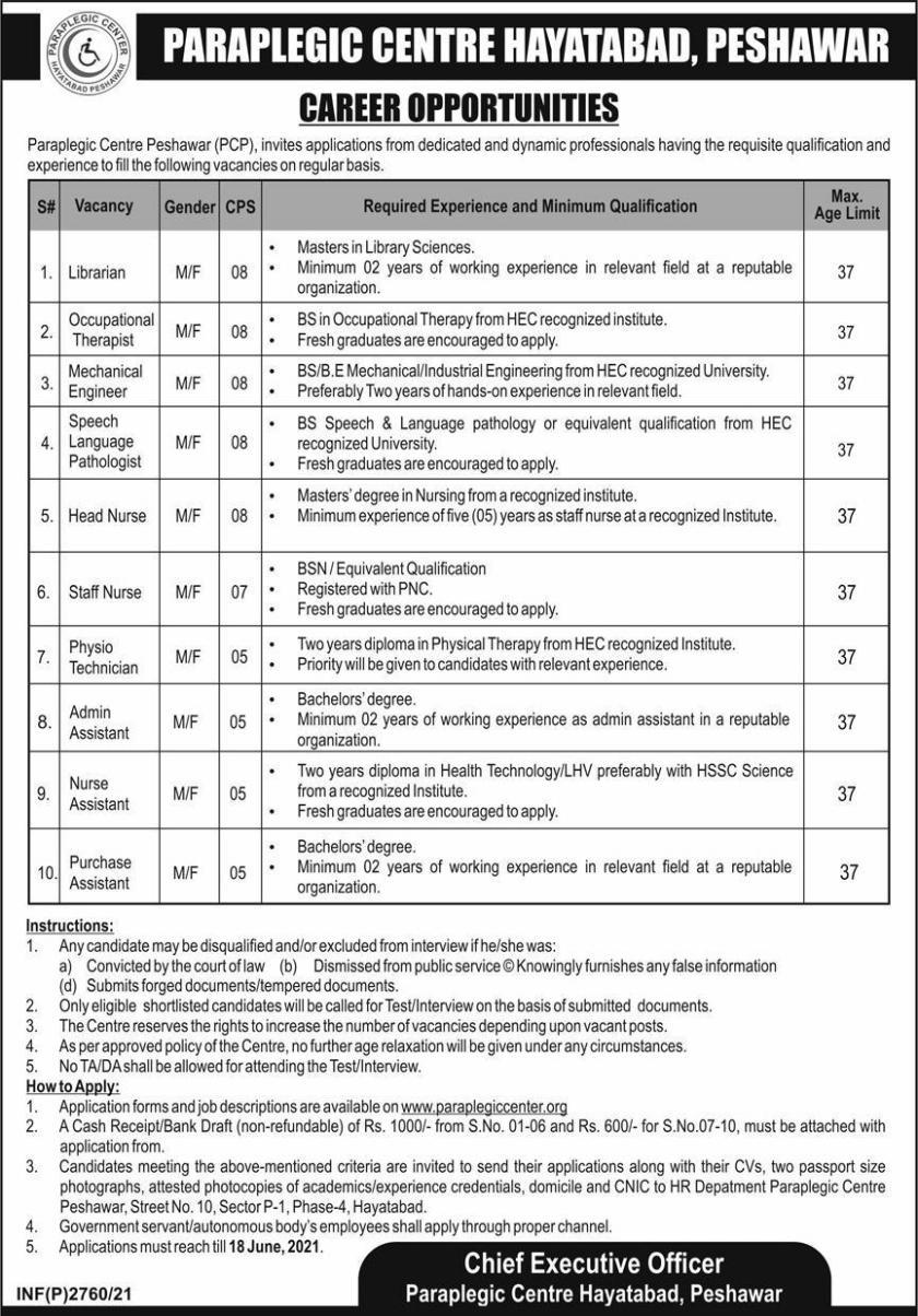 Paraplegic Centre Peshawar PCP Jobs 2021