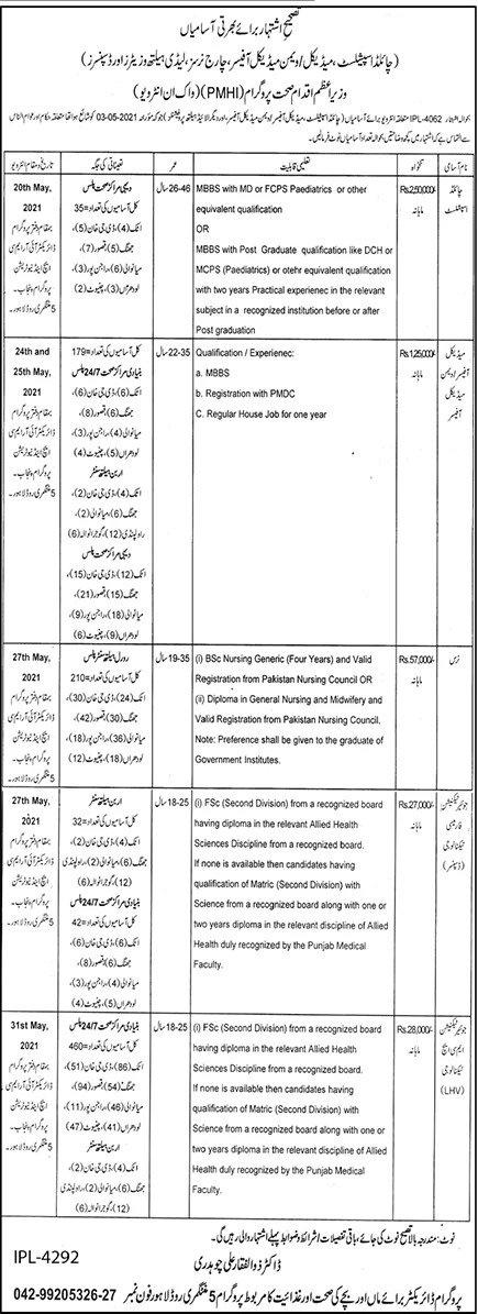 Prime Minister Health Initiative PMHI Jobs 2021